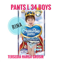 Mamypoko Extra Soft Royal Soft L 34 Boy Mamy Poko Pants