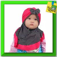 kerudung bayi polkadot jilbab anak dengan turban motif pita