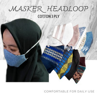 MASKER KAIN KATUN 3 PLY MODEL HIJAB / HEADLOOP