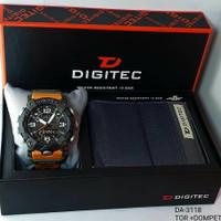 jam tangan pria DIGITEC 3118 Tali rubber Dualtime free Dompet original - TOR, 5.2cm