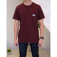 Kaos Old Navy Softwashed Graphic Label Pocket Tee Maroon Original