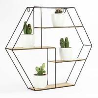 Rak dinding besi - Hiasan dinding - Hexagon segienam - Hiasan Dinding