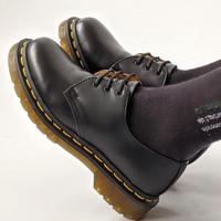 Sepatu pantofel sepatu kerja kulit asli Boston Razor model docmart - 39, Hitam