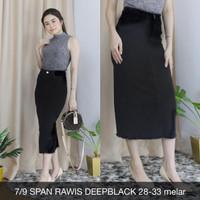 Rok Jeans Wanita 7/9 Span Rawis Deepblack Skirt Big Size Melar Hitam