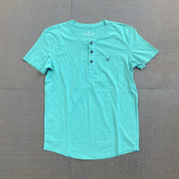 Kaos American Eagle Cotton Stretch Henley Tee Light Green Original