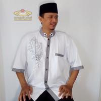 Baju Koko Katun Putih Lengan Pendek Dewasa Size Eropa | Muslim Pria - Putih, XL