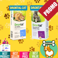 Drontal Cat / Dog - Obat cacing kucing anjing per tablet plus tasty