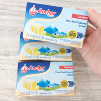 anchor unsalted butter pats mentega 227 gr
