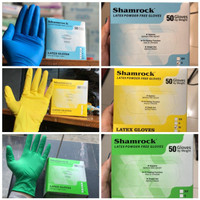 Shamrock Color Latex Gloves Powder Free (50pcs/box) - S, Kuning