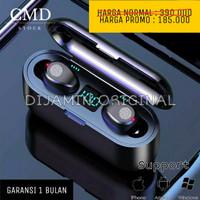 HEADSET BLUETOOTH 5.0 WIRELESS EARPHONE LED DISPLAY IPX7 MINI ORIGINAL - Hitam