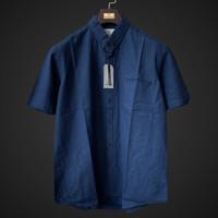 kemeja linen kerah basic warna space cadet blue regular fit