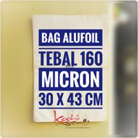 Bag Alufoil Jumbo Tebal 160 mic 30x43cm Putih Glossy Kemasan Food Grd