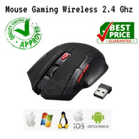 Mouse Wireless Mouse Gaming 6D USB 2.4GHz Optical Mouse ORI - Hitam