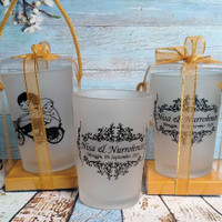 souvenir pernikahan gelas sablon kaca murah+ kemas mika