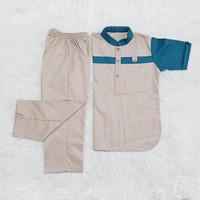 baju Koko anak toyobo setelan/kurta anak - cream, 2-3 tahun
