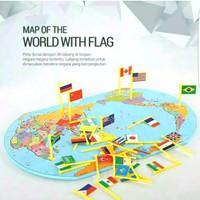 Mainan Anak Peta Bendera Negara Dunia MAP FLAG KNOWLEDGE OF THE WORLD