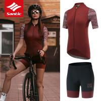 1set Santic Wanita Jersey Bersepeda & Celana Pendek Sepeda Cepatkering