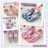 Princess shoes. Frozen elsa sepatu heels anak cewek girl gliter pesta
