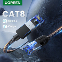 Ugreen CAT8 40Gbps 2000mhz Ethernet LAN Braided 3m cable BLACK 80432