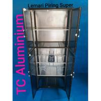 Lemari Piring Aluminium Super Riben 2 Pintu Full Coklat LPS 809-66 Cm