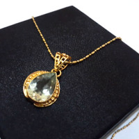 Kalung Perak Silver 925 Lapis Emas Liontin Batu Peridot
