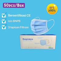 READY Masker Medis 3ply Disposable Mask 3 Ply Earloop 1 box isi 50 pcs