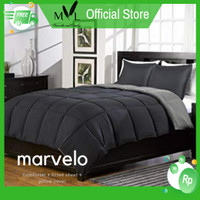 Marvelo Bed Cover Set Hitam Abu-abu 120 cm Double Size Black Series