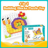 Toy Bricks Puzzle 128 pcs DIY 4 in 1 Insects. Mainan Montessori Anak