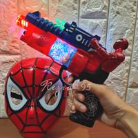 Mainan Anak 1 Set Topeng Tembakan Spiderman Lampu dan Suara