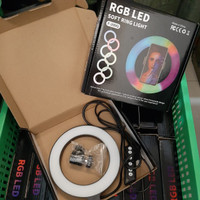 New Ringlight RGB Rainbow 16cm Ring Light 6 inch Plus Ball Head