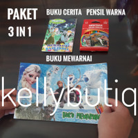 Paket 3in1 Buku Mewarnai Dan Cerita Karakter Frozen Set Pensil Warna