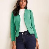 an*taylor petite fringe tweed jacket blazer