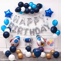 Set paket balon astronot roket galaxy angkasa ulang tahun birthday