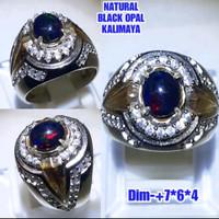 Cincin Pria Natural Batu Permata Black Opal Kalimaya Asli B1