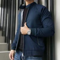 jaket harrington pria premium - Blue Navy, XXL