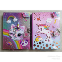 Buku Diary Anak Sparkly Kitty atau Unicorn With Lock & Keys HOT FOCUS