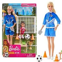 Boneka Barbie Mattel Soccer Coach Doll Playset with Black Hair Chelsea