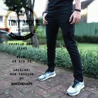 Celana Panjang Soft Jeans Hitam Pria Original TONY JACK - Hitam, 28