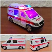 Mainan Mobil Ambulan 911 Bunyi Sirine Lampu