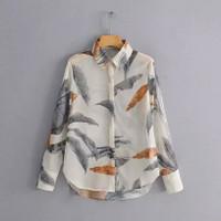 Women vintage leaves print casual slim business blouse shirts women