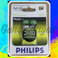 Baterai Charger PHILIPS AA 2450Mah 1.2V - Batre Cas AA Philips 2450Mah