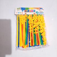 magic straw 110pc / mainan rancang bangunan 4 dimensi