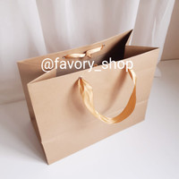 Paper Bag Kraft Coklat / Shopping Bag / Tas Kertas ukuran 29 x 15 x 23