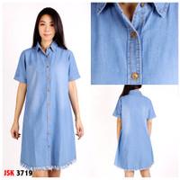 blouse denim wanita jsk jeans lengan pendek - Biru Muda, XXL