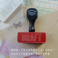 Wooden Stamp Handle DRAFT journaling stempel surat kayu karet mail