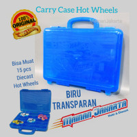 Biru transparan Carry Case Hot Wheels Tas Kotak Koper HotWheels