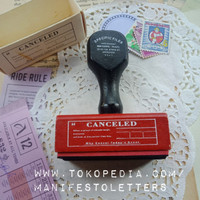 Wooden Stamp Handle CANCELED journaling stempel surat kayu karet mail
