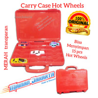 Merah Transparan Carry Case Hot Wheels Tas Kotak Koper HotWheels Asli