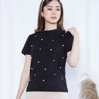 blouse atasan wanita rajut mutiara pearl knit
