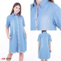 blouse jeans wanita kemeja jsk bawah rumbai - Biru Muda, XXL